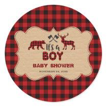 Lumberjack Red Buffalo Little Hunter Baby Shower Classic Round Sticker