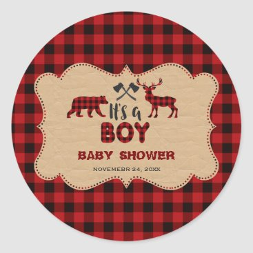 Toddler & Baby themed Lumberjack Red Buffalo Little Hunter Baby Shower Classic Round Sticker