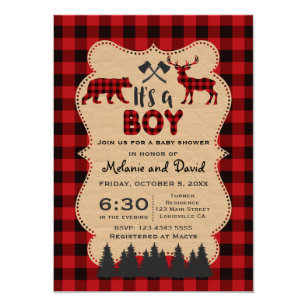 Lumberjack Red Buffalo Little Hunter Baby Shower Invitation
