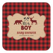 Lumberjack Red Buffalo Little Hunter Baby Shower Square Sticker