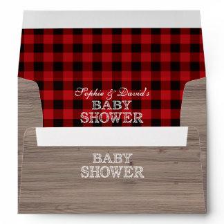 Lumberjack Red Buffalo Old Barn Baby Shower Envelope