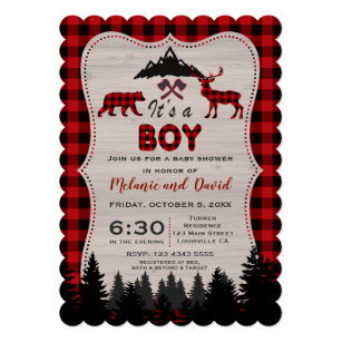 Lumberjack Red Buffalo Old Washed Barn Baby Shower Invitation