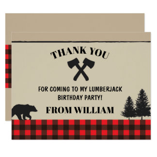 Lumberjack Red Check Birthday Party Thank You Card