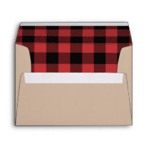 Lumberjack Red Plaid Black Red Rustic Envelope