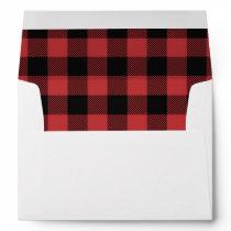 Lumberjack Red Plaid Black Red Rustic Envelope
