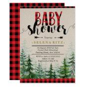Lumberjack Red Plaid Boy Baby Shower Invitation