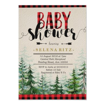Toddler & Baby themed Lumberjack Red Plaid Boy Baby Shower Invitation