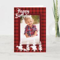 Lumberjack red plaid pattern birthday photo card