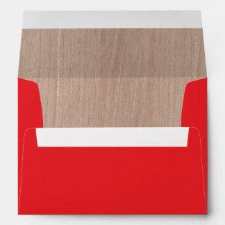 lumberjack rustic woodgrain lined red invitation envelope