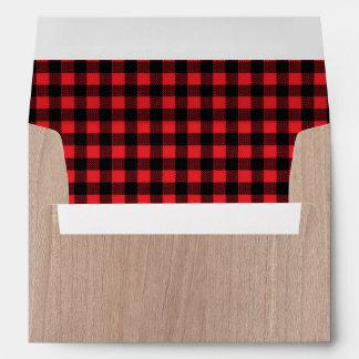 Lumberjack Rustic Woodgrain Red Plaid Lined Envelope