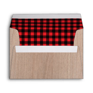 Lumberjack Rustic Woodgrain Red Plaid Lined Envelope