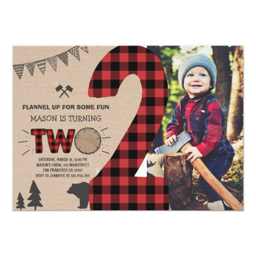 Lumberjack Second Birthday Invitation Plaid 2nd