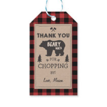 Lumberjack thank you tags Bear Red plaid Birthday