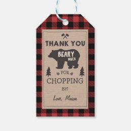 Lumberjack thank you tags Bear Red plaid Birthday
