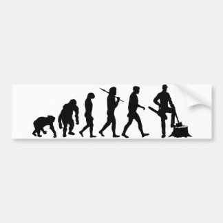 Lumberjack tree feller loggers bunyan evolution bumper sticker