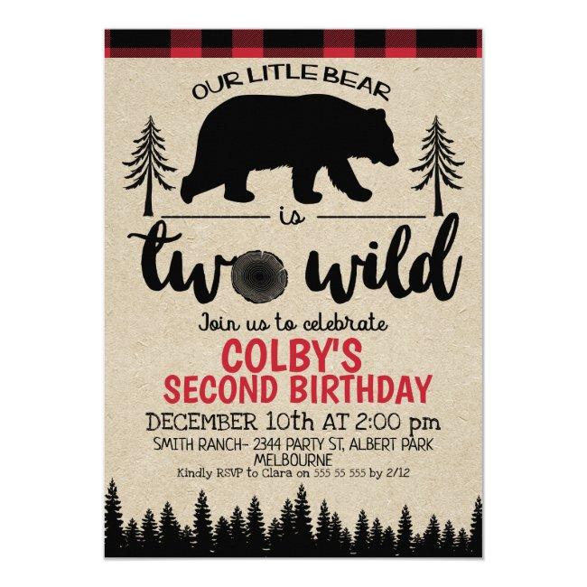 Lumberjack Two Wild Bear 2nd Birthday Invitation