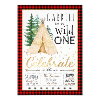 Lumberjack Wild One Tribal TeePee Birthday Party Card