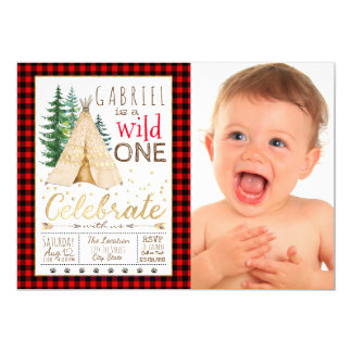 Lumberjack Wild One Tribal TeePee First Birthday Card