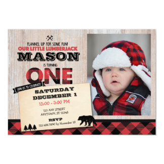 Lumberjack Wilderness First Birthday Invitation