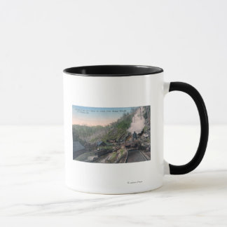 Lumberjacks Carrying Logs over Gulch by Cable Mug