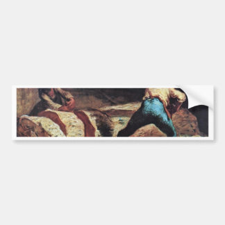 Lumberjacks Sawing Wood By Millet  (Best Quality) Bumper Sticker