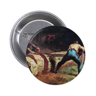 Lumberjacks Sawing Wood By Millet  (Best Quality) Pinback Button