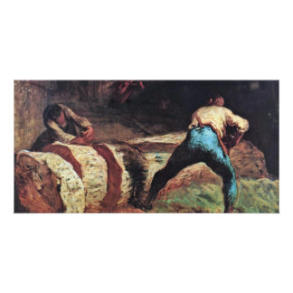 Lumberjacks Sawing Wood By Millet Best Quality Photo Cards