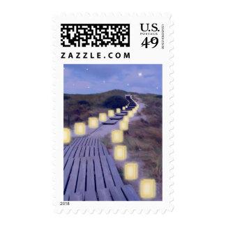 Luminarias on the Beach Path Postage Stamp