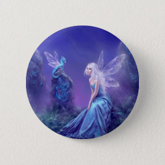 Luminescent Fairy & Dragon Art Pinback Button