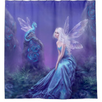 Luminescent Fairy & Dragon Art Shower Curtain