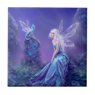 Luminescent Fairy & Dragon Art Tile