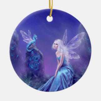 Luminescent Fairy & Dragon Cermic Oval Ornament