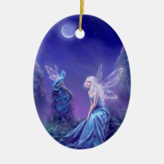 Luminescent Fairy & Dragon Oval Ceramic Ornament