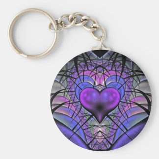 Luminescent Heart Fractal Key Chains