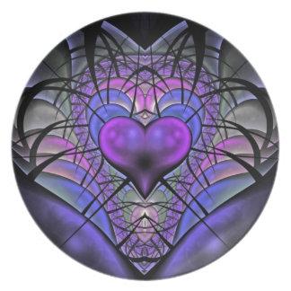 Luminescent Heart Fractal Melamine Plate