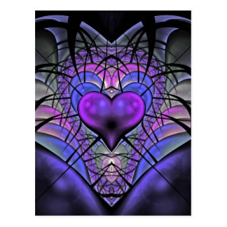 Luminescent Heart Fractal Postcards