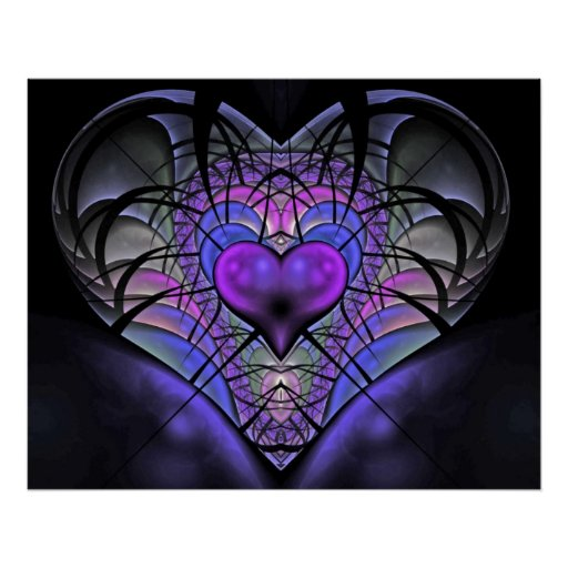 Luminescent Heart Fractal Posters