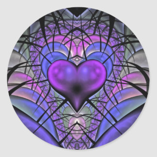 Luminescent Heart Fractal Stickers