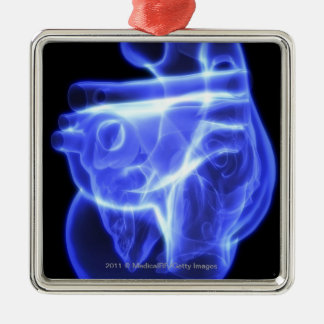 Luminescent view of the human heart metal ornament