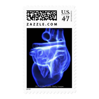 Luminescent view of the human heart postage