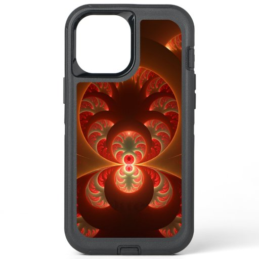 Luminous Abstract Modern Orange Red Fractal OtterBox Defender iPhone 12 Pro Max Case