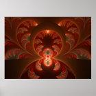 Luminous abstract modern orange red Fractal Poster