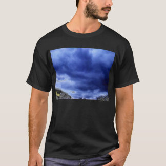 Luminous Blue Storm Over Electric Treetops by KLM T-Shirt