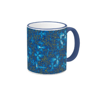 Luminous Blue & Yellow Ripples Natural Fractal Mug