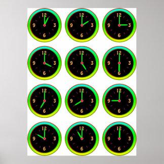 Luminous Clocks Teach Time (Hours) for Kids Poster