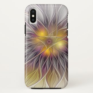 Luminous Colorful Flower, Abstract Modern Fractal Case-Mate iPhone Case
