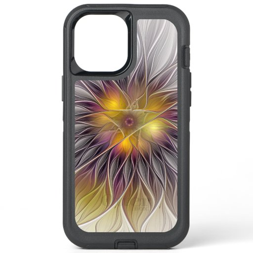 Luminous Colorful Flower, Abstract Modern Fractal OtterBox Defender iPhone 12 Pro Max Case