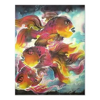 Luminous Colorful Goldfish Silk Art 4.25x5.5 Paper Invitation Card