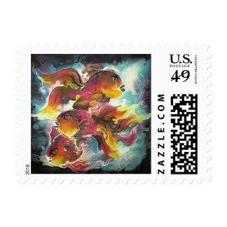 Luminous Colorful Goldfish Silk Art Postage