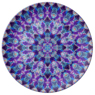 Luminous Crystal Flower Mandala Dinner Plate